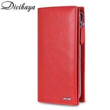 Женский Длинный кошелек DICIHAYA, модный многофункциональный кошелек из натуральной кожи, на молнии, с держателем для карт