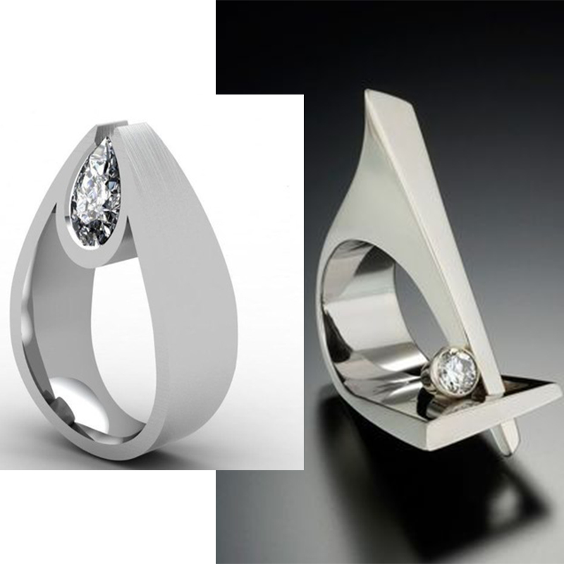3D Curve Geometry White Zircon Rings Women Wedding Party Jewelry Luxruy Water Droplets Rhinestone Rings