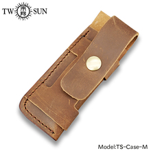 TwoSun Folding Pocket Knife Flashlight Sheath Brown Genuine Leather Sheath Pouch Pocket Holster Belt Loop Multi Tool Case-M