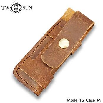 TwoSun plegable cuchillo de bolsillo linterna Funda de cuero genuino marrón funda de bolsillo funda de cinturón lazo de múltiples herramientas funda-M