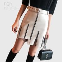 Novmoop Club fashion style black white lambskin genuine leather skirt with sash zipper decor jupe femme gonna di pelle LT2802