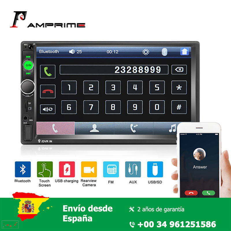 AMPrime 2 din car multimedia player 7'' Mirror Link Bluetooth Multimedia USB Autoradio Rear View Camera Connection HD Player MP5