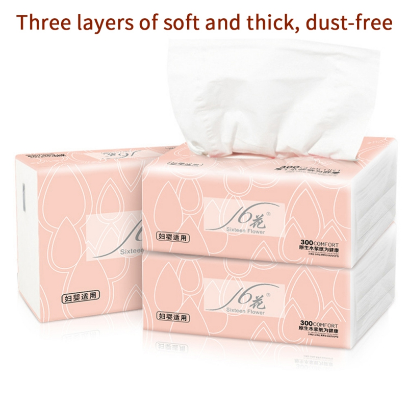 5 Packs Native Wood Pulp Safe Toilet Paper 3 Layers Of Thicken 300 Sheets Of Removable Facial Tissue Soft Strong Wettable Napkin