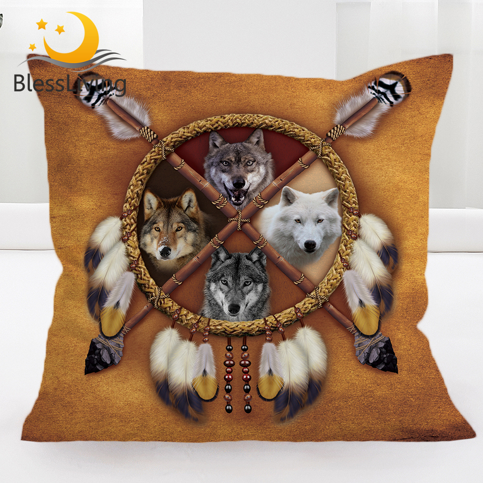BlessLiving Wolves Dreamcatcher Throw Pillow Covers Wolf Square Decorative Pillow Cases Animal Pillowcase Cushion Cover