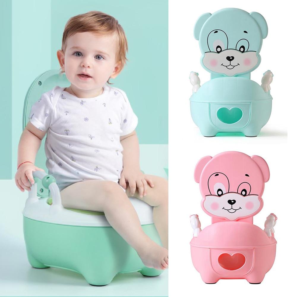 Portable Baby Pot For Children Potty Toilet Seat Kids Potty Training Infant Cartoon Bedpan Comfortable Backrest Toilet Bowl Pots