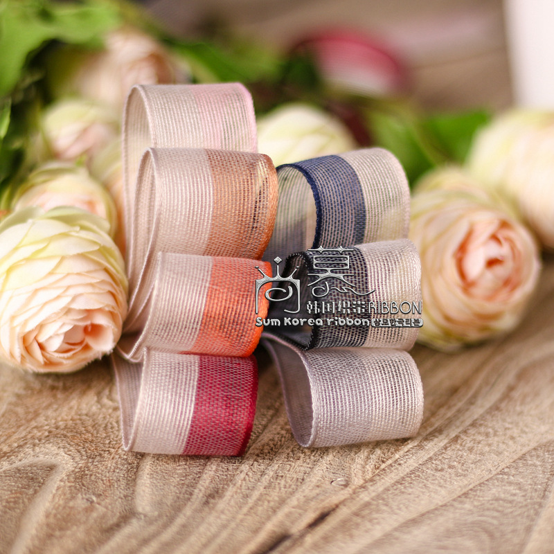 100yards 25mm 40mm double colors two stripes mesh organza sheer ribbon for kids girl hair bow diy accessories craft supplies in Ribbons from Home Garden