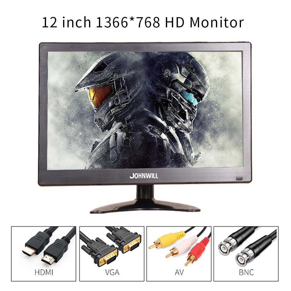 <font><b>12</b></font> <font><b>inch</b></font> 1366*768 <font><b>LCD</b></font> HD Monitor Computer PC <font><b>Display</b></font> Color Screen 2 Channel Video In Security With Speaker HDMI VGA USB image