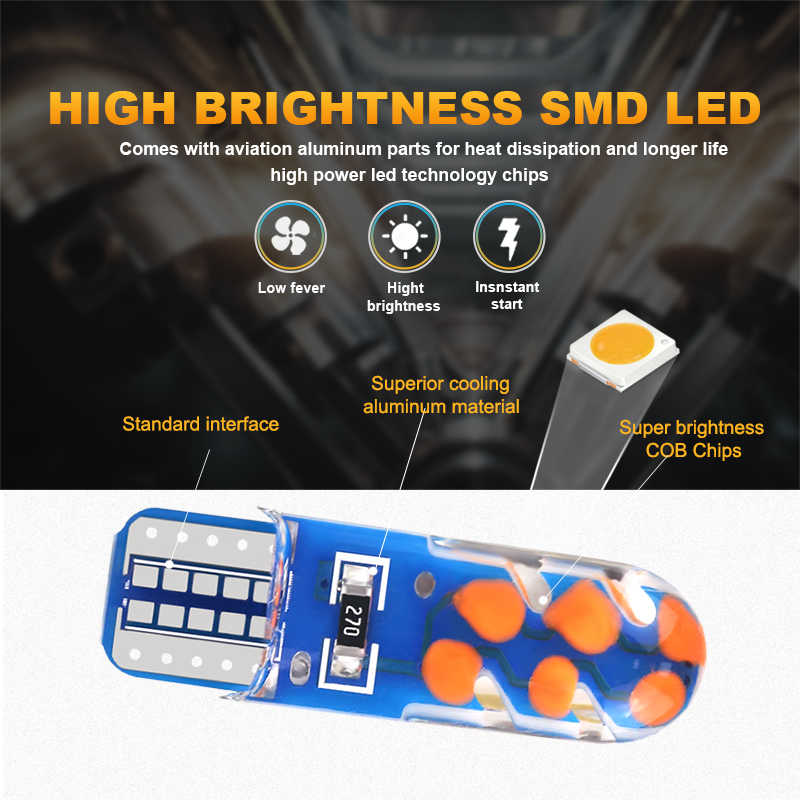NLpearl 2x lámpara de señal T10 W5W Led Canbus luz Interior del coche 12V 12V W5W 168 12 SMD 194 COB Chips Auto de luz de lectura