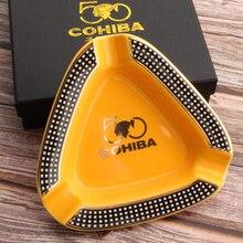 COHIBA Cigar Gadgets Home Cigar Ashtray Portable Ceramic 3 Cigars Ash Tray Tobacco Cigarette Ashtrays Holder