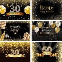 Mehofond-Fondo de fotografía feliz 50 ° 30 ° cumpleaños, cartel de lunares dorados, Fondo de fotografía personalizado para estudio fotográfico