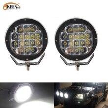 OKEEN 2pcs 80W 5 인치 라운드 스팟 LED 포드 라이트 바 조정 가능한 장착 브래킷 지프 오프로드 4WD 트럭 SUV 운전 램프