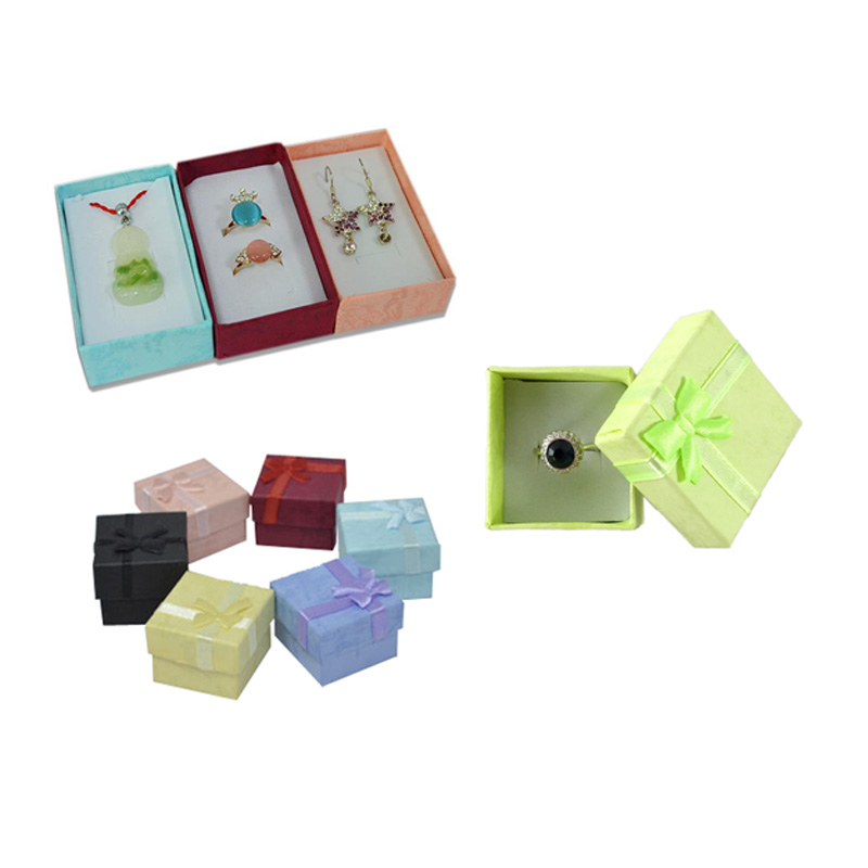3 Sizes 19 Color Paper Ribbon Necklace Earring Ring Package Box Floral 4*3cm 5*5cm 5*8cm Jewelry Organizer Storage Gift Box