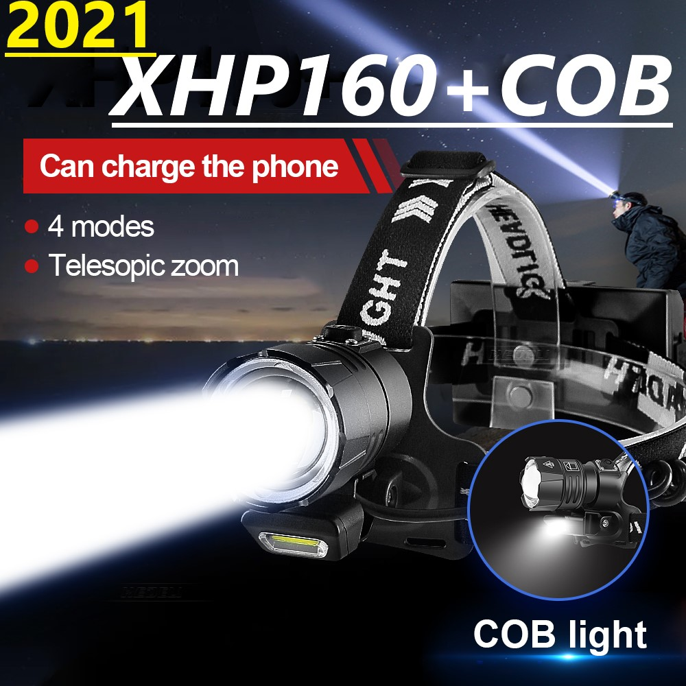 2021 Новый XHP160 Мощный светодиодный налобный фонарь Перезаряжаемые светодиодный головной светильник 18650 Usb головки вспышки света светильник Р...