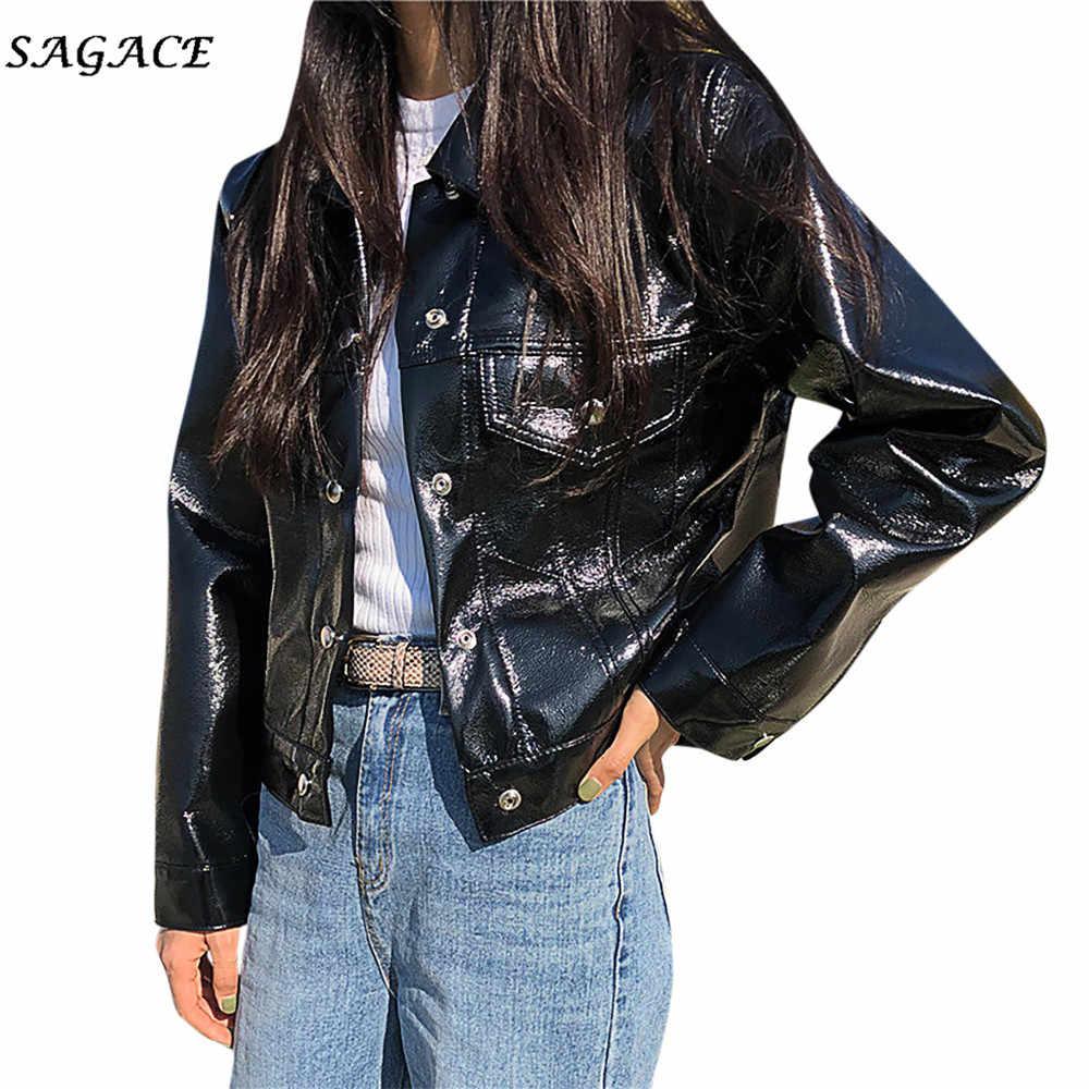 Sagace Pakaian Mantel Wanita Kulit Saku Mewah Lengan Panjang Jaket Mantel Slim Blus Olahraga Musim Semi Solid Mantel