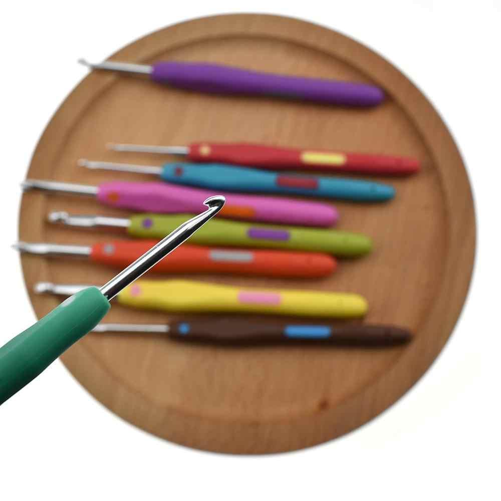 9 stks/pak TPR Haak Aluminium Haken Garen Naaien Soft Grip Breien Naalden Tools Set voor Breien Lover Haak Leerling Naaien