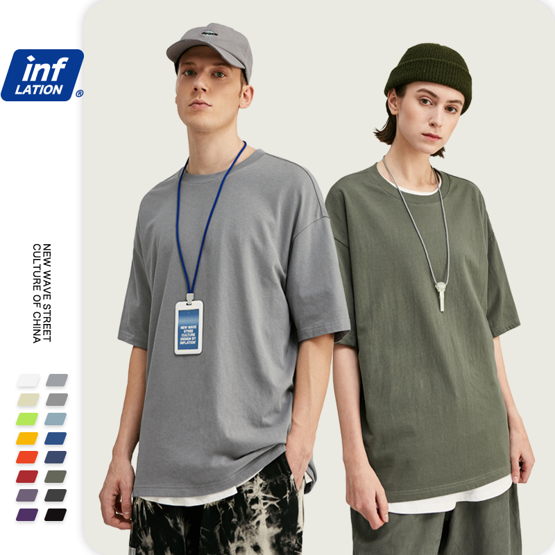 INFLATION Candy Colour Cotton Oversized Fashion Hip Hop T-Shirts Dress Tee Solid Loose Fit Basic Tee Unisex Couple Tee 8193S