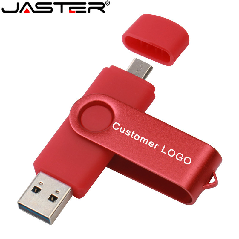 JASTER USB Flash Drive Hot Selling Rotating OTG Mobile Phone Computer Dual-use Real Capacity Creative USB 2.0 4GB 8GB 16GB 64GB
