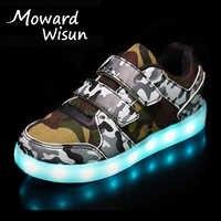Taille 25-37 enfants chaussures LED pour garçons filles USB chargeur Schoenen enfants Chaussure Enfant lumineux brillant Sneaker avec semelle légère