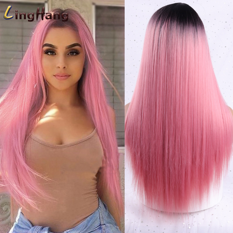 Linghang Long Straight Synthetic Wig Light Blue Ombre Wigs for Women Mixed Brown and Blonde Wig Middle Part Nature Hair