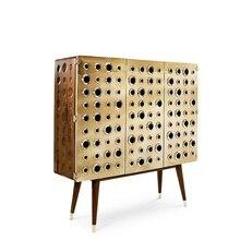 120 см Высокие боковые доски с ликерным шкафом/позолоченная атласная стальная поверхность с деревянными ножками/шкаф из каштана лиственных пород