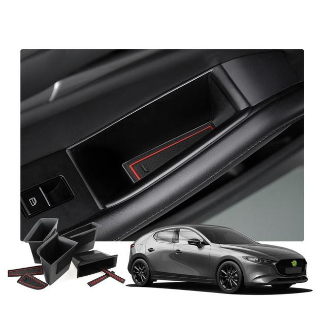 RUIYA 자동차 사이드 도어 스토리지 박스 For Mazda 3 4th/Mazda CX 30 2019 오른쪽 방향타 차량 도어 핸들 스토리지 액세서리 블랙