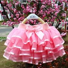Tulle Skirts Ball-Gown Cake-Tutu Dance Birthday Girls Princess Kids 4-Layers Children
