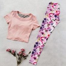 Yoga Shirt Sports shirt Top Sexy Women Gym print yoga sets Jogging Clothing For Fitness Seamless Sport women 2 piece set