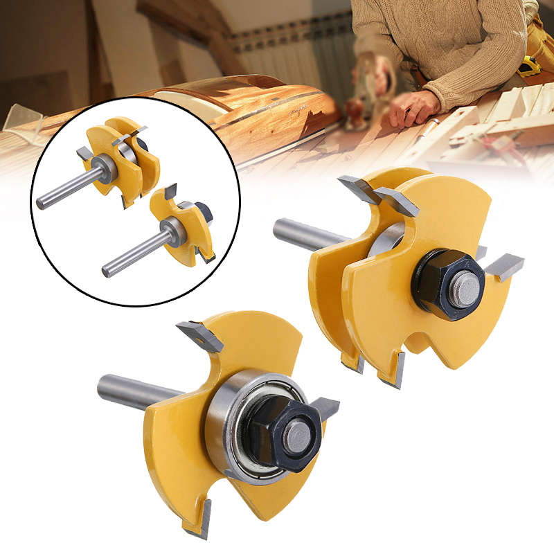 2pcs T-type 6.35mm Tongue & Groove Router Bit Set 3-tooth 1/4