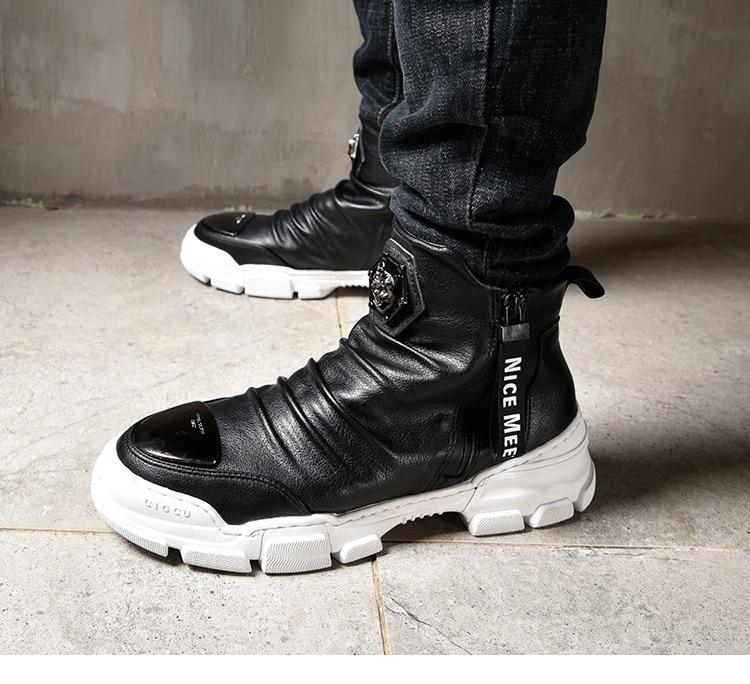 Shenzhou Paul 18 autumn and winter men's casual shoes plus velvet warm cotton shoes high shoes Martin short boots tide shoes men