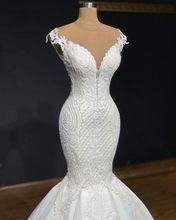 Vestido de novia de sirena con encaje con cuentas, vestido de novia con espalda con tren largo, manga corta, vestido de novia