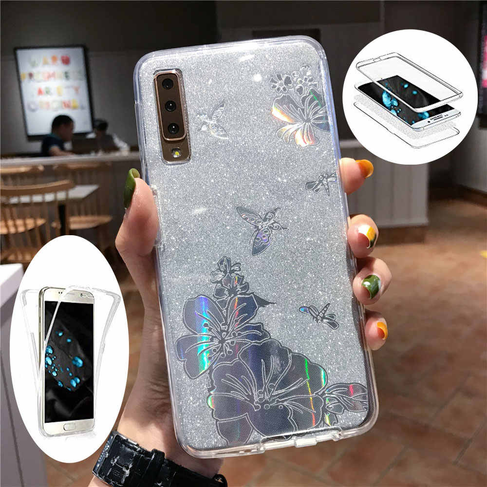 360 PC + TPU Front Back Buterfly Flower Glitter Phone Case For Samsung Galaxy Note 10 9 8 A10 A20E A30 A50 A70 2019 Cover Case