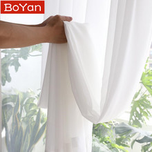 Super Soft Great Hand Feeling White Tulle Curtains for Living Room Decoration Modern Veil Chiffon Solid Sheer Voile Kitchen cheap BoYan Translucidus (Shading Rate 1 -40 ) Left and Right Biparting Open Built-in Embroidered Flat Window European and American Style
