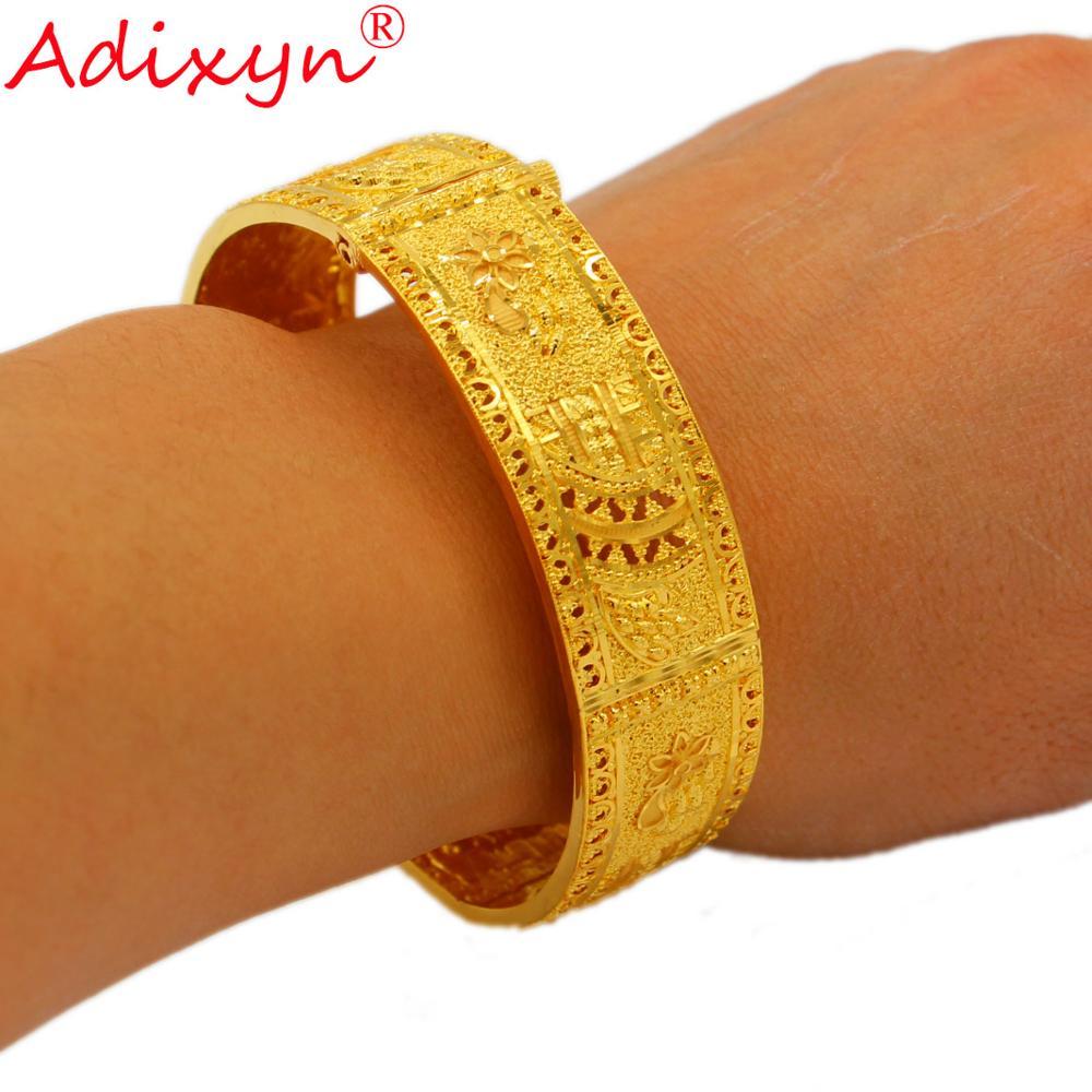 Adixyn nouveau Dubai Bracelet pour femmes 24k couleur or cuivre manchette Bracelet bijoux afrique arabe éthiopien mariée cadeaux de mariage N12177
