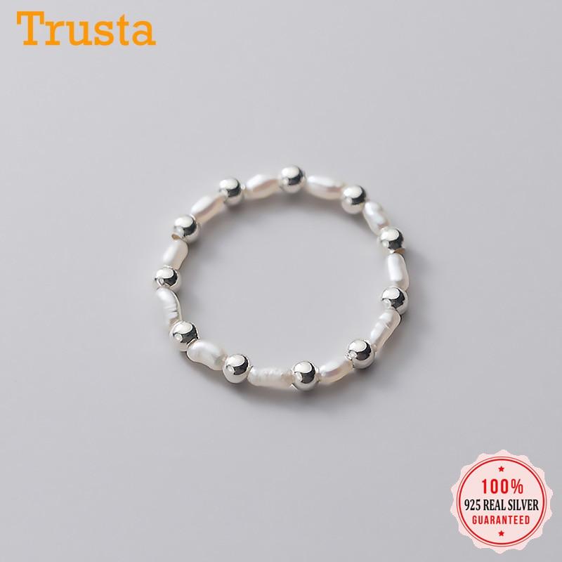 Trustdavis minimaliste réel 925 en argent Sterling doux perle perles anneaux élastiques pour les femmes fête de mariage S925 bijoux DA1349