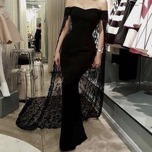 Восьмилое Черное вечернее платье русалки с накидкой открытыми