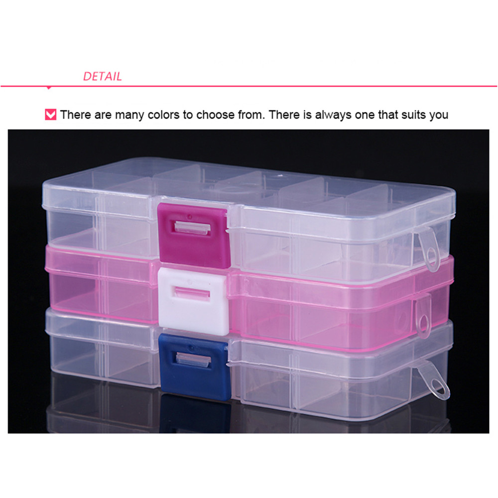 Portable 10 Compartments Transparent Pill Organizers for Storage of Tablets and Capsules in Large Size 1