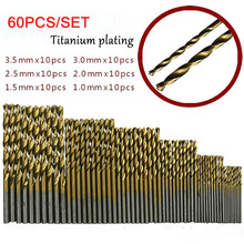 50/60Pcs/set HSS Titanium Coated Drill Bits High Speed Steel Set Tool Quality Power Tools 1/1.5/2/2.5/3mm/3.5mm