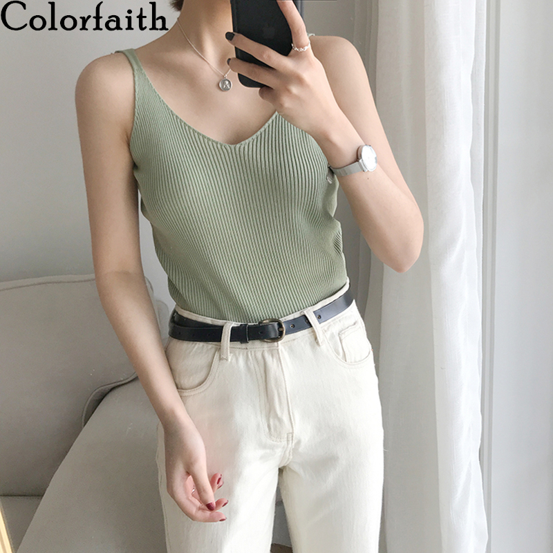 Colorfaith New 2020 Spring Summer Women Tops Solid Multi Colors Wild Tank Sexy Basic Knitting Bottoming V-Neck Vest Tops V6202