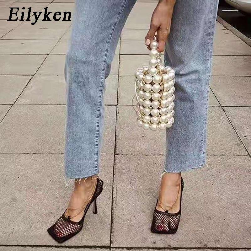 Eilyken 2019 New Fashion Autumn High Heels Women Pumps Sexy Mesh Square Toe Shallow Female Apricot Black Party Shoes