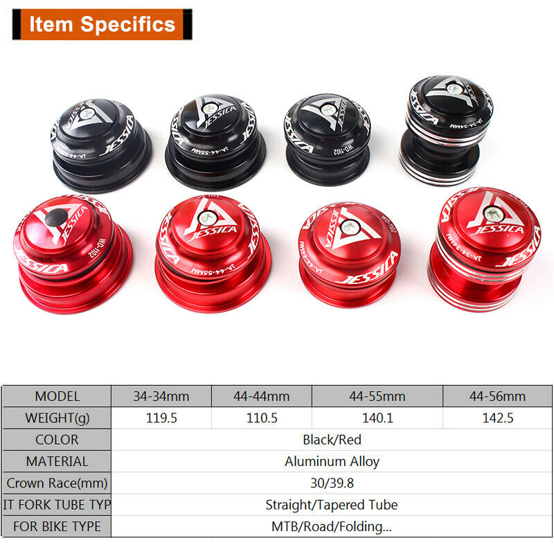 """JESSICA Double Bearing All Steel Headsets 34//44//44-55//44-56 For 1-1//8/"""" Fork Tube"""