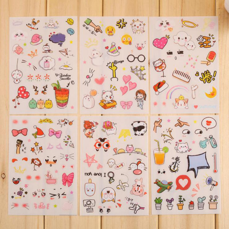 6pc / Bag, Cute Cartoon Expression Small Things Pvc Transparent Stickers / Student Creative Stationery Diy Decorative Scrapbook