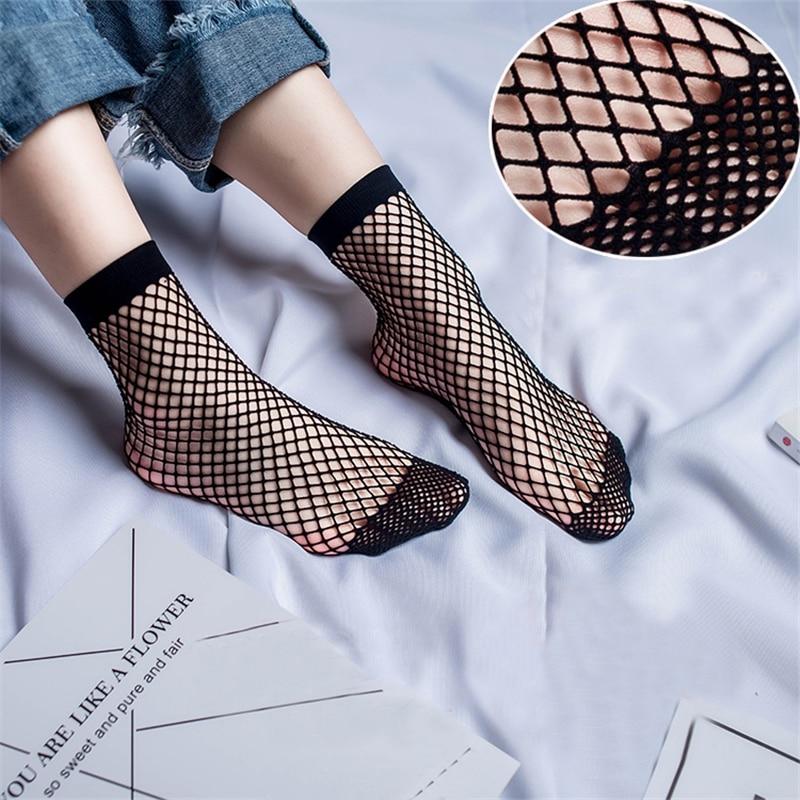 Sexy Grid Mesh Fishnet Ankle Socks Women Hollow Short Black Socks Lace Fish Net Socks Ladies Sale Summer Non Slip Japanese Socks