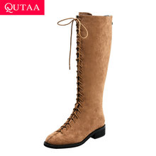 Square Heel High-Boots Suede-Quality Women Shoes Knee QUTAA Zipper Winter Casual Kid
