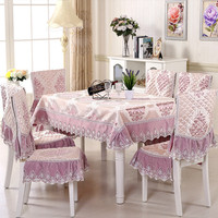 13pcs Flower Tablecloth Tablecloth Chair Covers Set Blue Table Cloth Dust Cover Chair Seat Cushion Home Hotel Party Decor