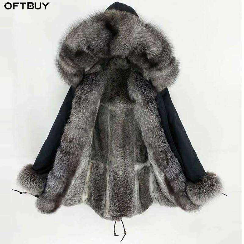 OFTBUY 2019 Long Parka Real Fur Coat Winter Jacket Women Natural Fox Fur Collar Hood Cuffs Rabbit Lliner Thick Warm Outerwear
