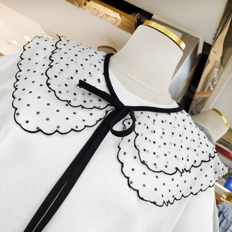 Women Girl Lace Fake Collar Polka Dots Floral Round Neck Detachable Half Shirt