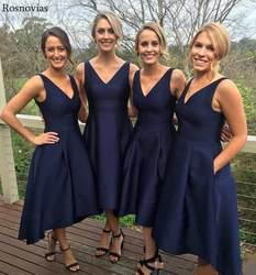 Короткое ТРАПЕЦИЕВИДНОЕ ПЛАТЬЕ подружки невесты, 2019, v-образный вырез, с открытой спиной, высоко и низко, Выходное платье для невесты на