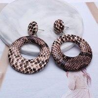 9 couleurs Vintage rond boucles d'oreilles goutte pour les femmes grand géométrique déclaration boucles d'oreilles peau de serpent pendentif boucles d'oreilles bijoux de mode