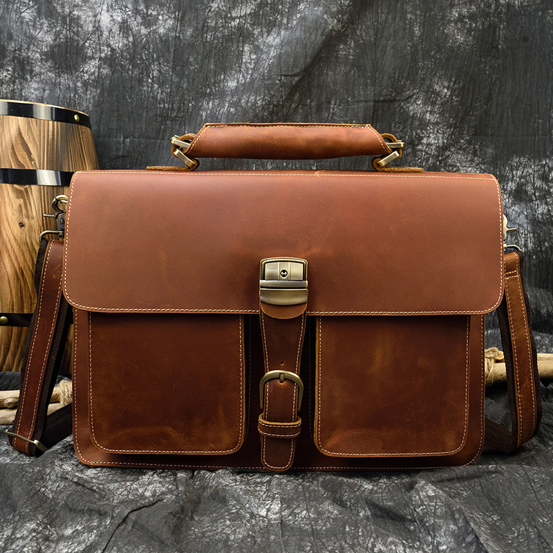 MAHEU Classical Crazy Horse Leather Men Briefcases Work Tote Cowhide Shoulder Bag For 15.6