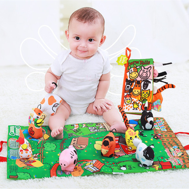Scene Cloth Book Stereo Farm Doll Baby Cloth Book Baby Toys Mat For Boys Girls SZ41